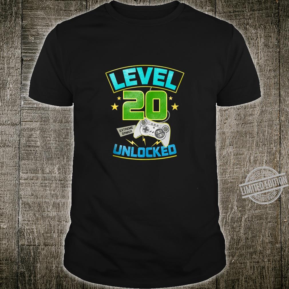 20th Birthday Video Gamer Level 20 Unlocked Retro Gaming Shirt
