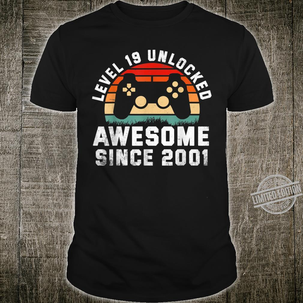 Awesome Since 2001 19th Birthday Gamer 19 Year Old Shirt