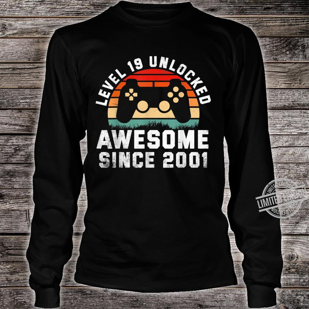 Awesome Since 2001 19th Birthday Gamer 19 Year Old Shirt long sleeved