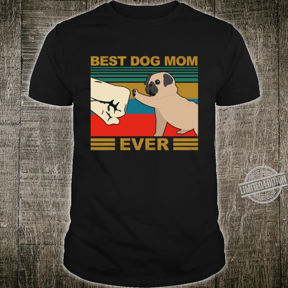 Dog Mom Retro Fist Pug Shirt