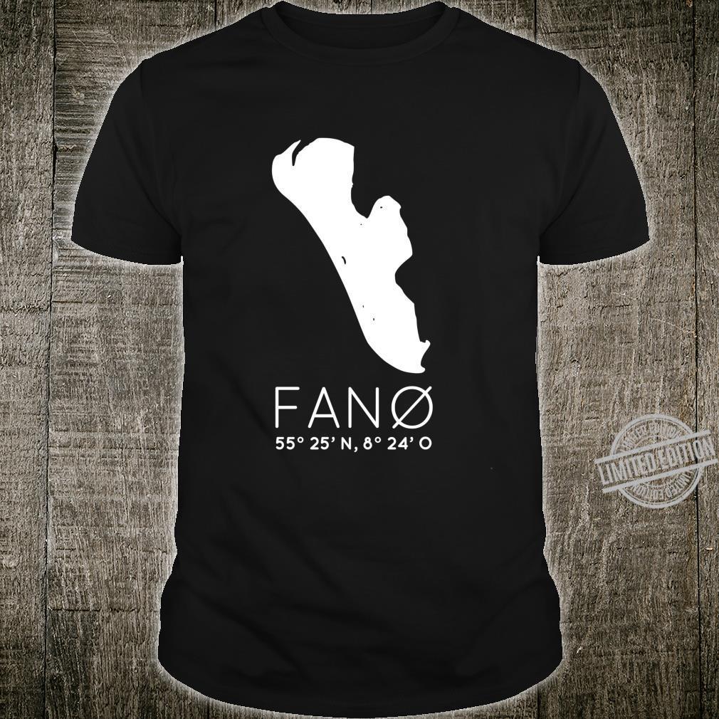 Fanø Denmark Island Fanö Coordinates Silhouette Map LongSleeved Shirt