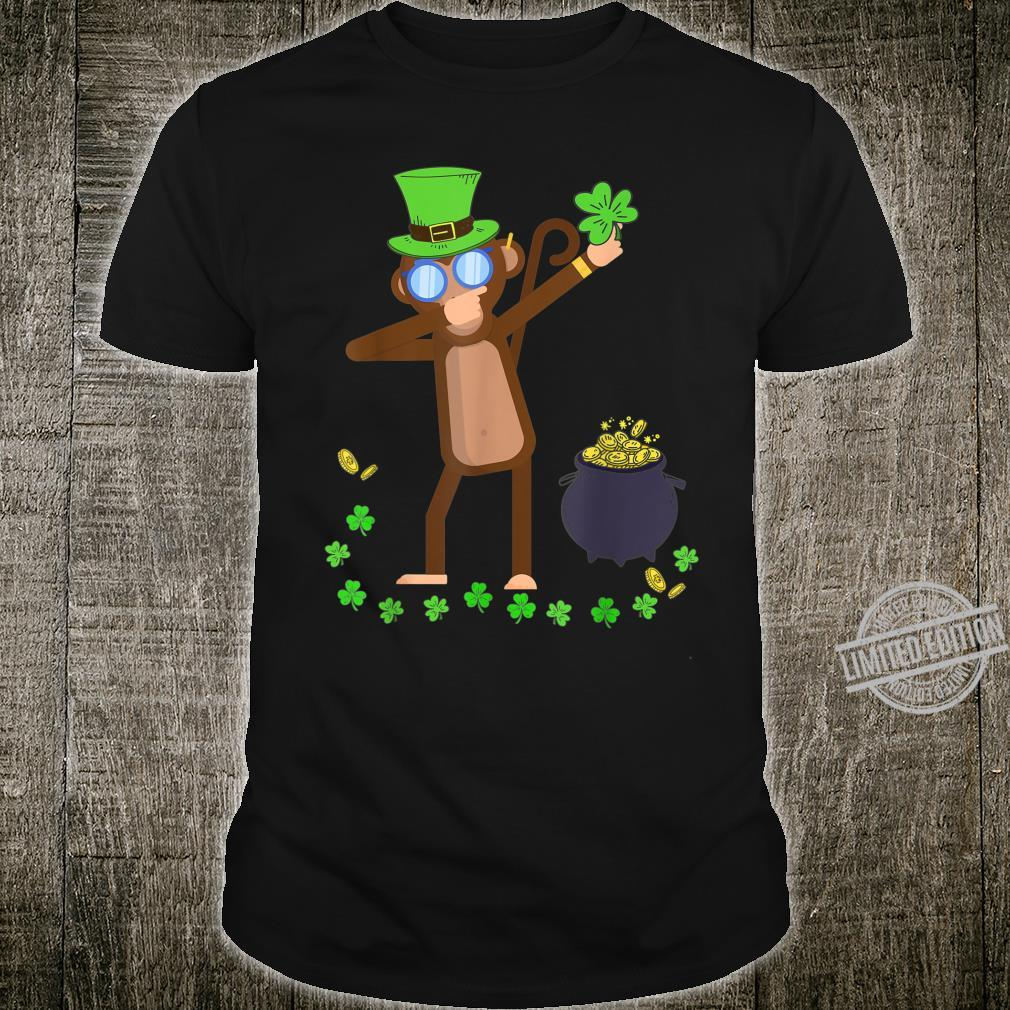 Funny Monkey Dabbing Shamrock Patrick's Day Shirt