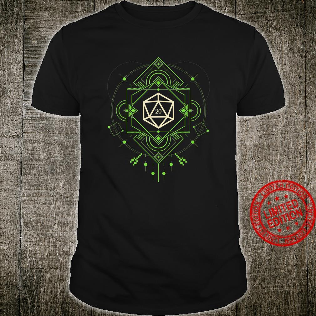 Geeky Futuristic Green Polyhedral D20 Dice Set Shirt