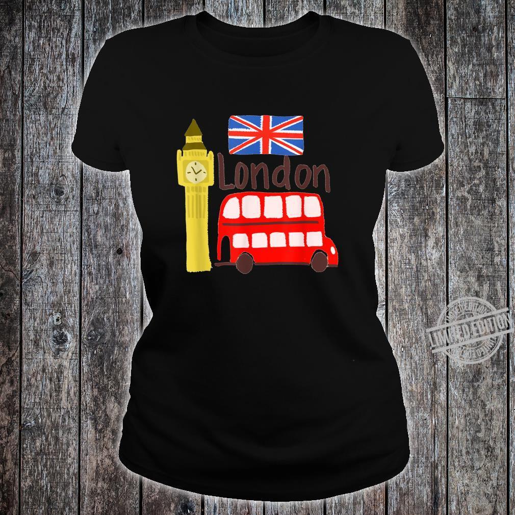 London England Big Ben Bus Union Jack Flag Shirt ladies tee