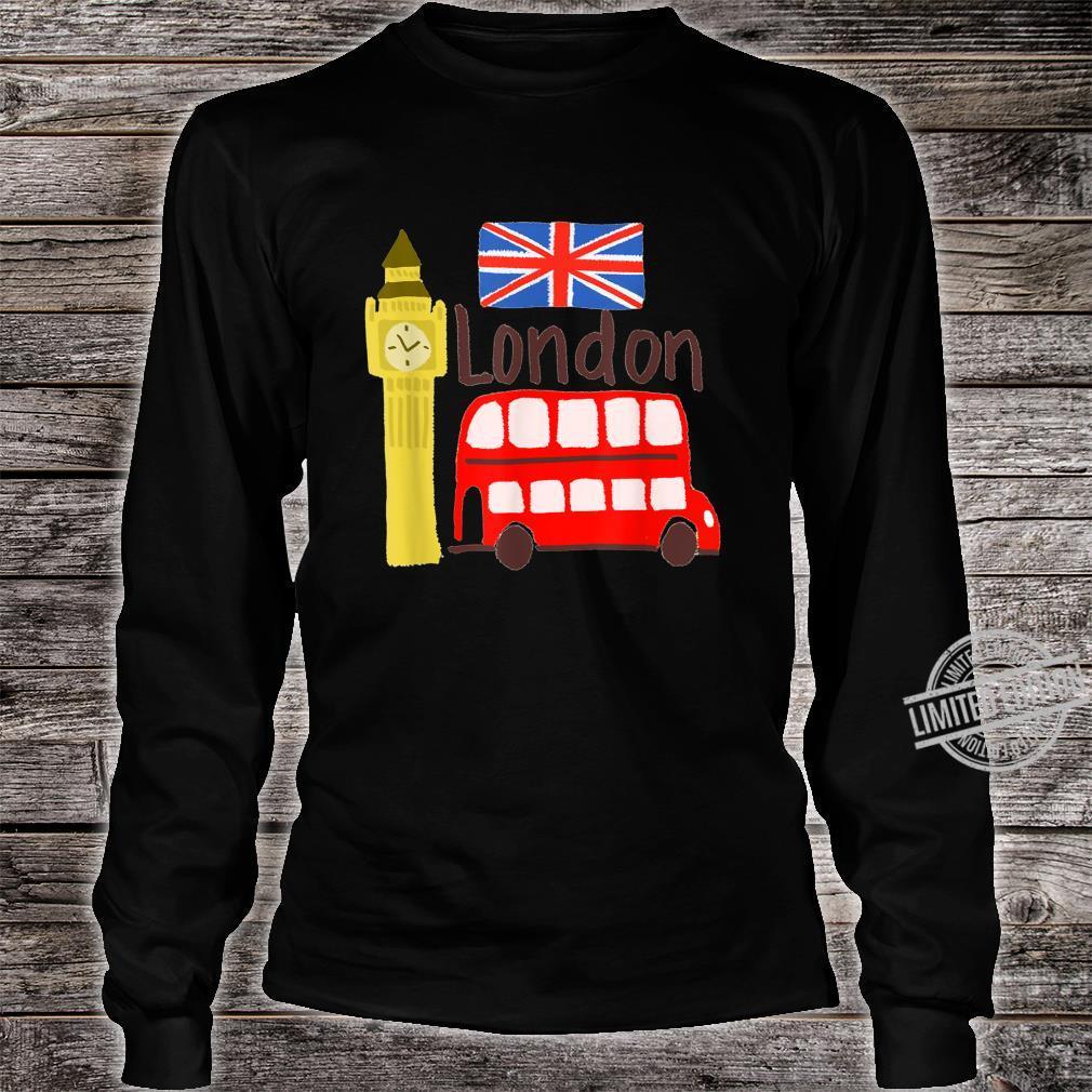 London England Big Ben Bus Union Jack Flag Shirt long sleeved