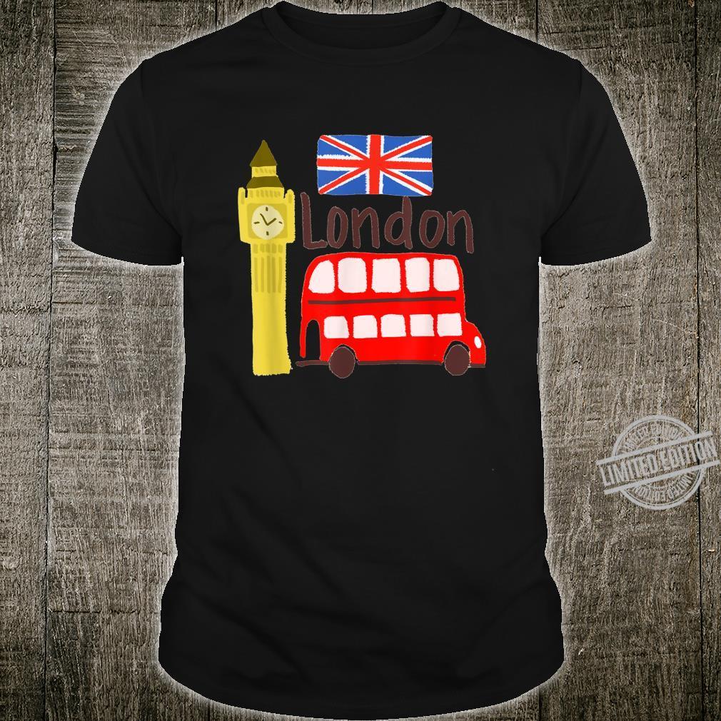 London England Big Ben Bus Union Jack Flag Shirt