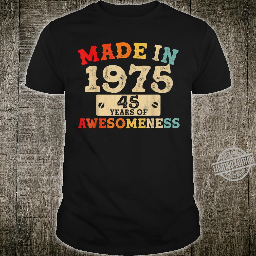 Retro Vintage 1975 45th Birthday Awesome 45 Years Old Shirt