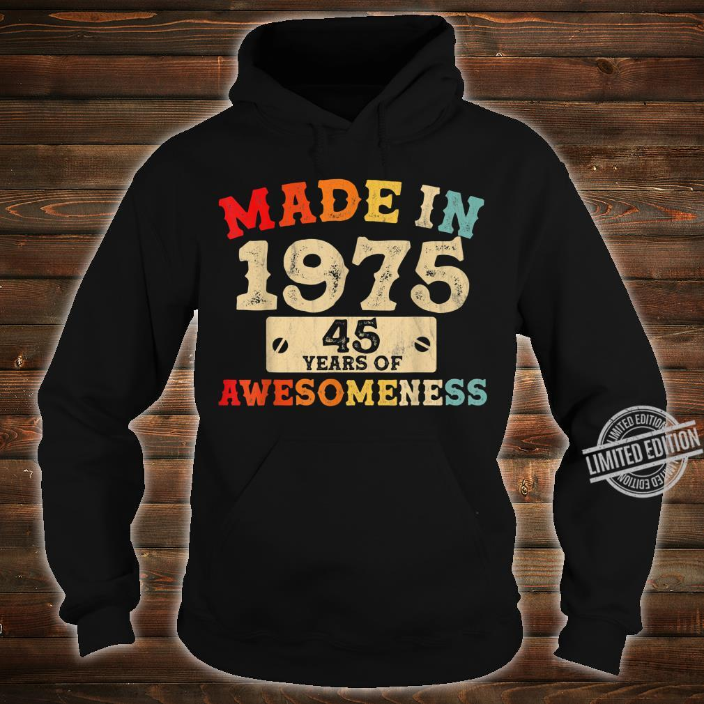 Retro Vintage 1975 45th Birthday Awesome 45 Years Old Shirt hoodie