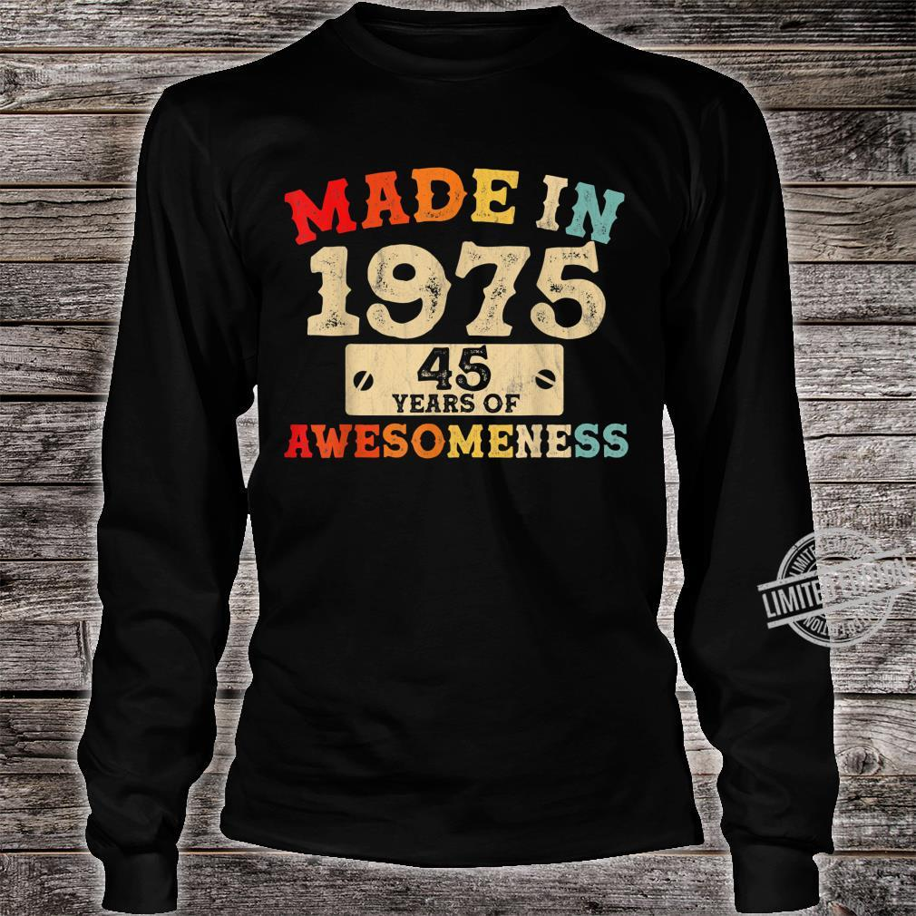 Retro Vintage 1975 45th Birthday Awesome 45 Years Old Shirt long sleeved
