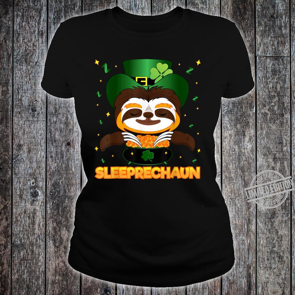 Sleeprechaun Sloth St Patricks Day Irish Sloth Leprechaun Shirt ladies tee