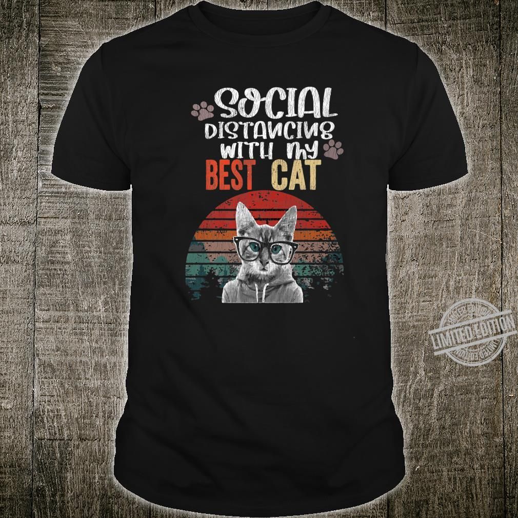 Social Distancing With My Best Cat Kittens Quarantine Shirt