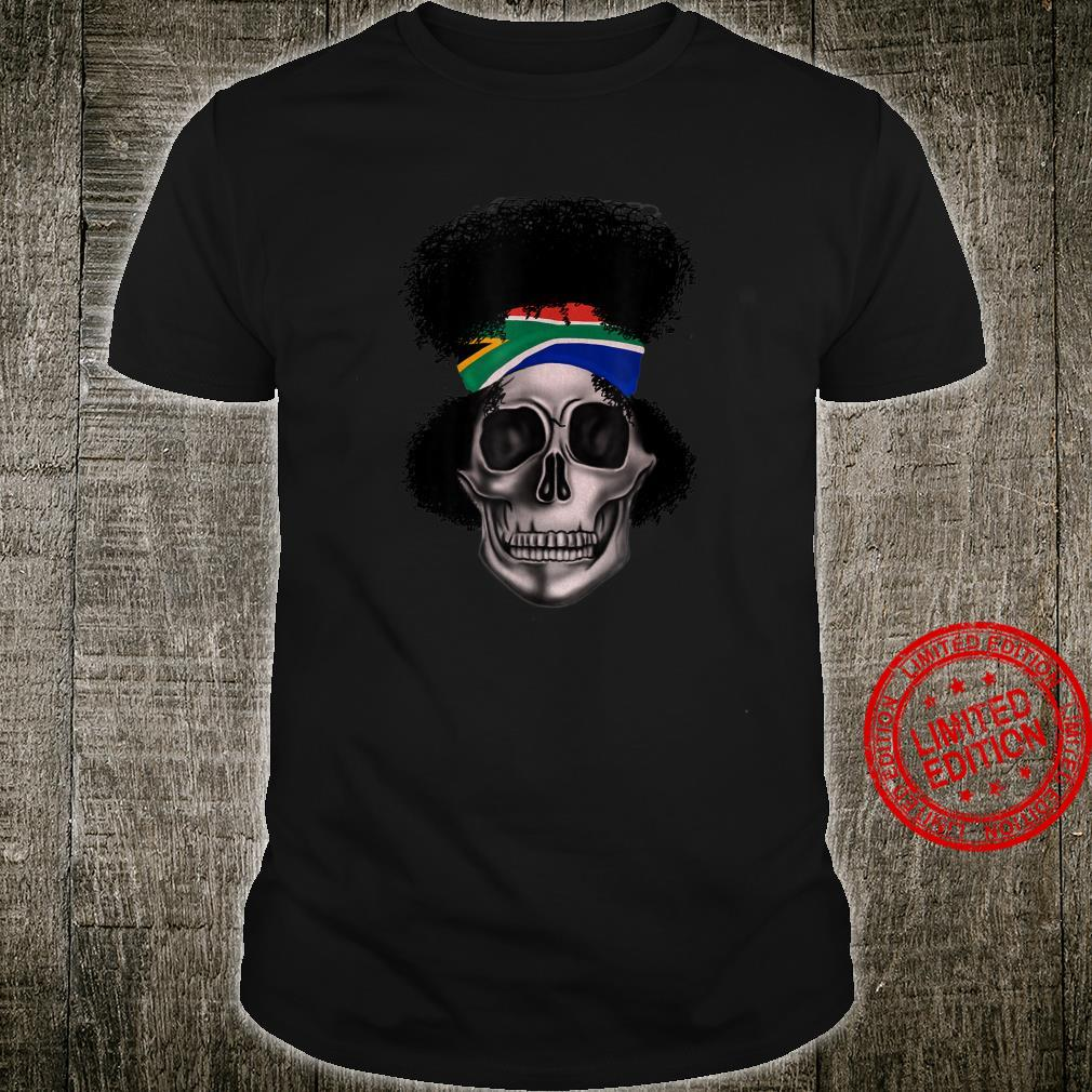 South African Flag Big Afro Skull African Pride Shirt