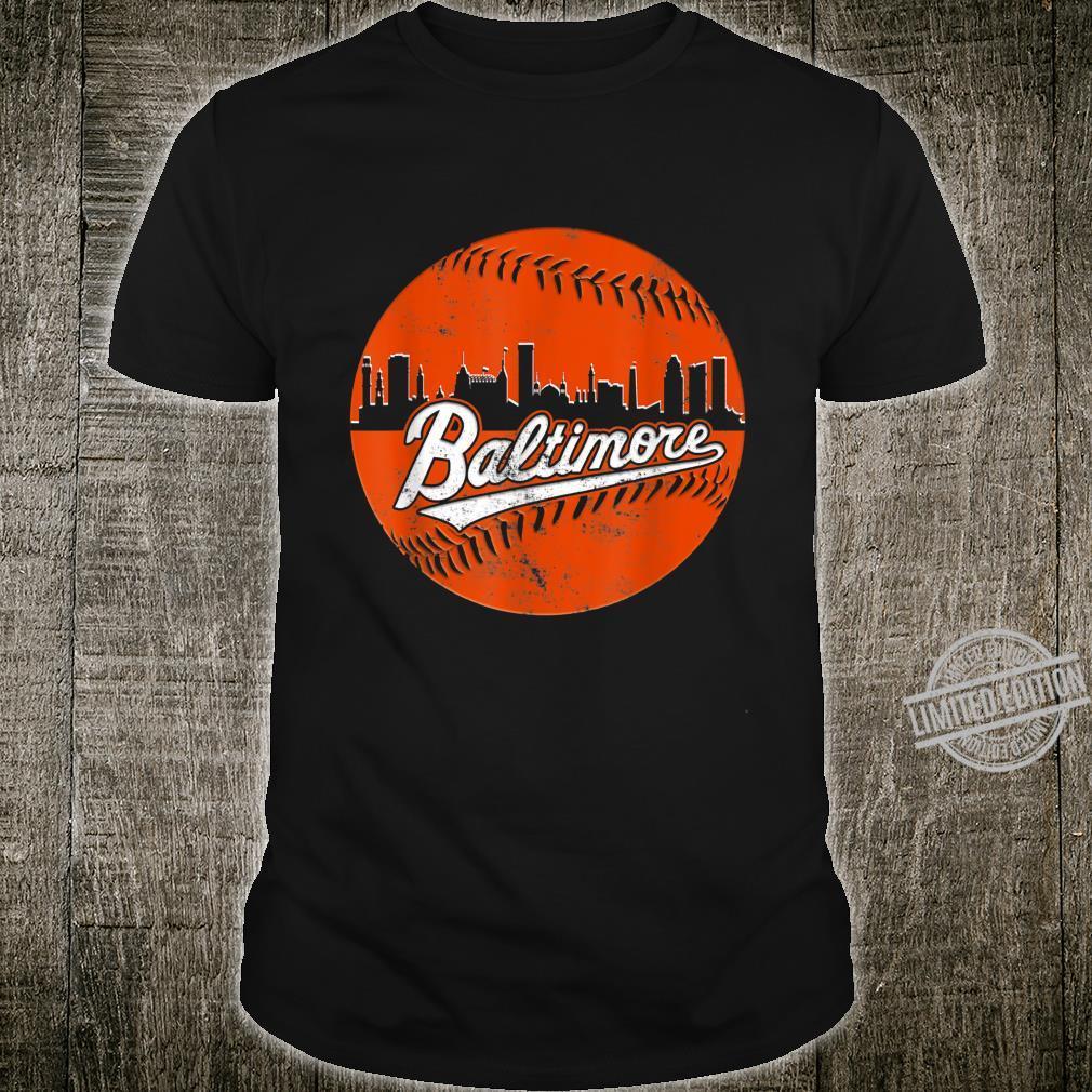 Vintage Downtown Baltimore Maryland Skyline Baseball Shirt