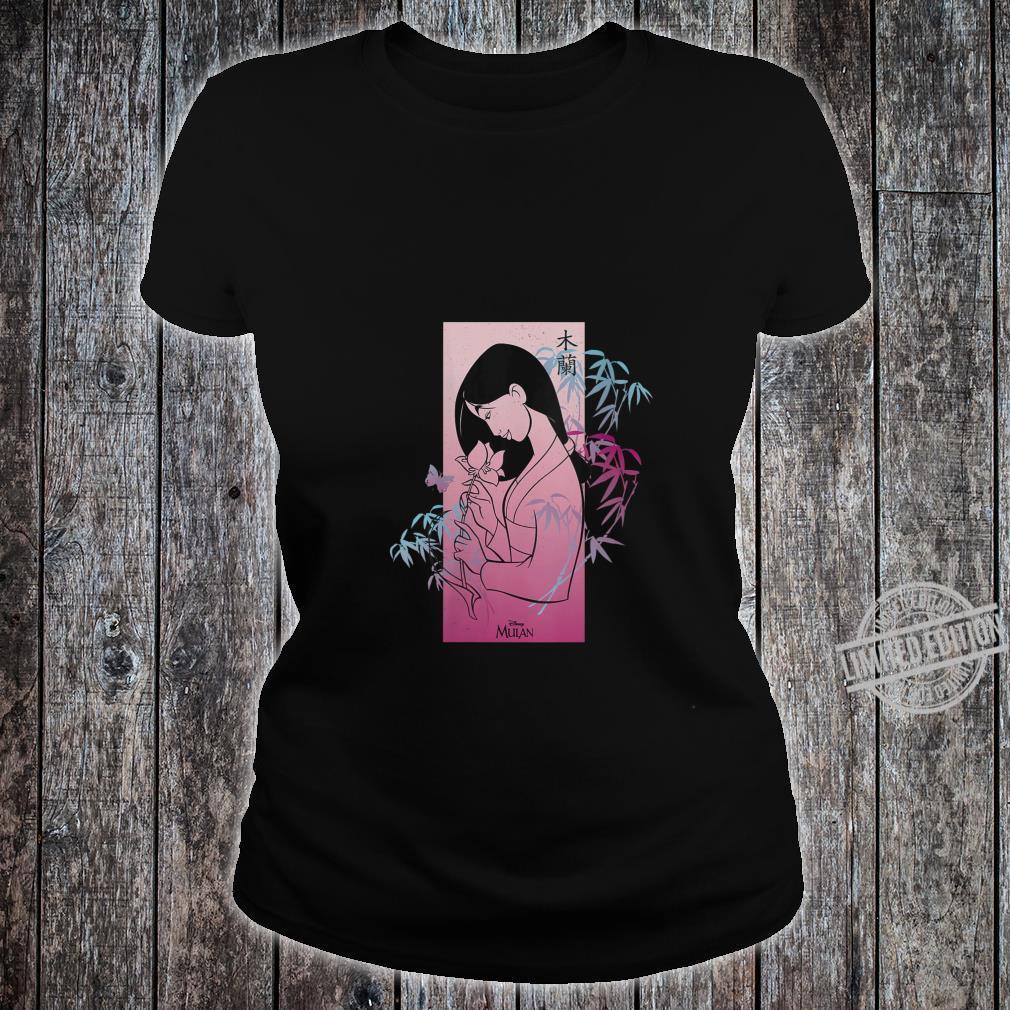 Womens Disney Princess Mulan Pink Gradient Banner Shirt ladies tee